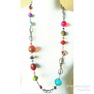 "Boho bead necklace silver hardware 13"" drop"